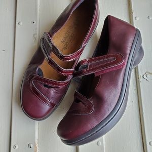 NAOT Dark Red Leather Mary Jane Patent 37 6.5
